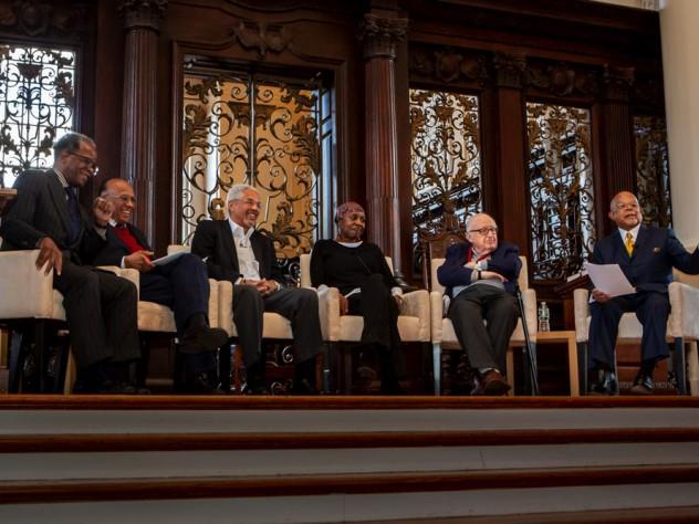 (from left) Lee Daniels '71, Orlando Patterson, Jeffrey Howard '69, Octavia Hudson '71, Henry Rosovsky, Henry Louis Gates Jr.