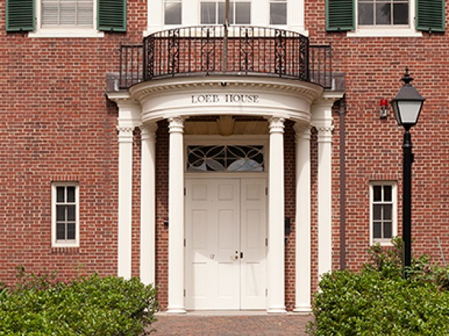 A photograph of the entrance to Loeb House, where Harvard's governing boards meet.