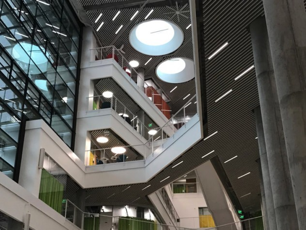 The main atrium in Harvard's new Science and Engineering Complex