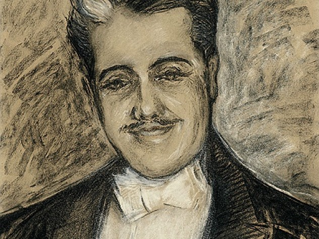 A portrait of Diaghilev in graphite and chalk, by Constantine Korovine