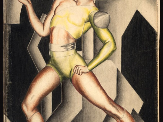 Serge Lifar in <em>La Chatte,</em> a 1927 character portrait by Eileen Mayo
