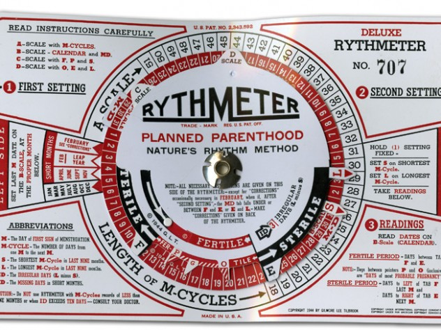 "The Rythmeter, circa 1944, came with a more complicated set of instructions than the earlier ""scientific prediction dial"" (see next image), reflecting increasingly precise knowledge of human reproduction—knowledge that Rock played no small part in advancing."