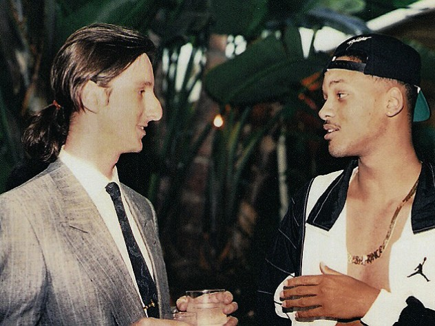 Borowitz with actor Will Smith at a 1990 Los Angeles party celebrating the premiere of <em>The Fresh Prince of Bel-Air</em>