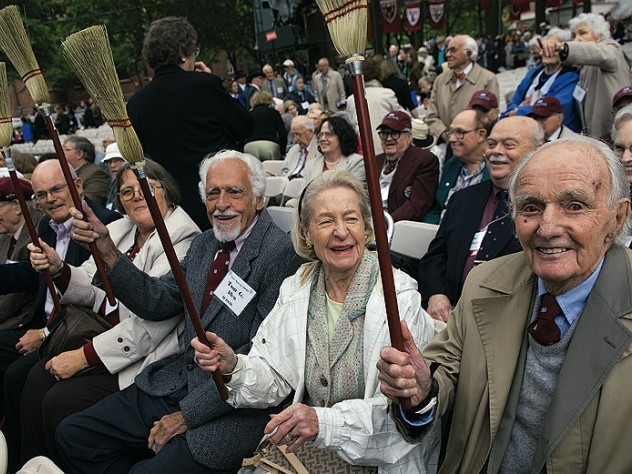 Last June, members of the College class of 1936 waved brooms to honor J.K. Rowling.