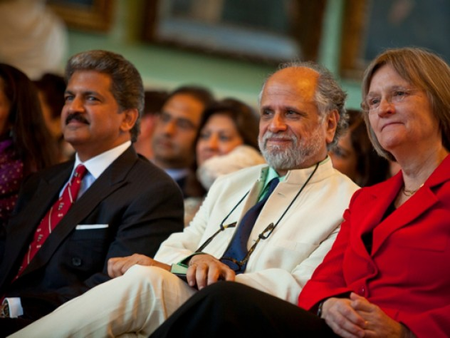 From left to right: Anand Mahindra, Homi Bhabha, and Drew Faust