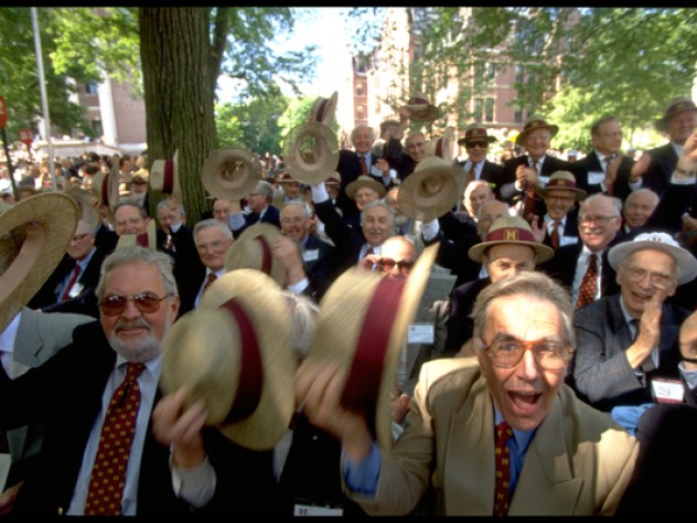 Members of the class of 1948 tip their straw hats in a show of fiftieth-reunion pride.