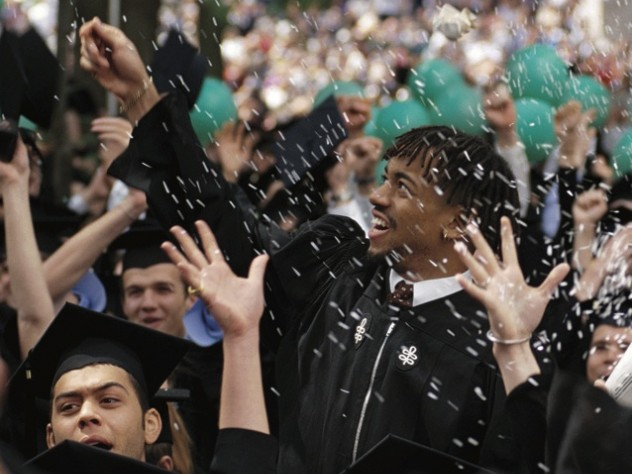 College seniors celebrate as their degrees are conferred (here, in June 1998—but the emotions are timeless).