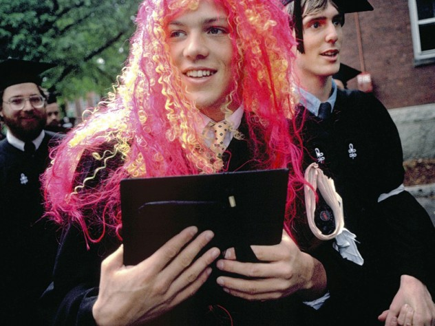 Olympic swimmer David Berkoff '88, of Huntingdon, Pennsylvania, in his merman wig