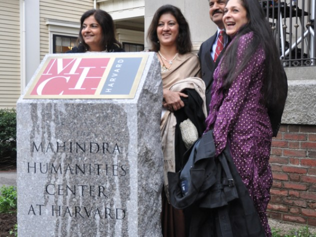 Anand Mahindra (third from left) and his wife, Anuradha Mahindra (at right), with Mr. Mahindra's sisters, Anuja Sharma (left) and Radhika Nath (second from left) at the Mahindra Humanities Center inauguration