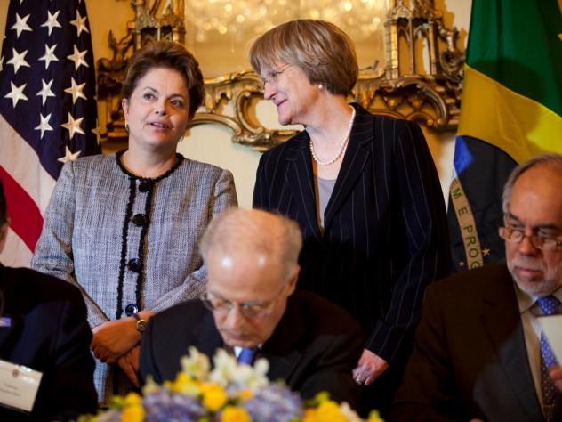 Brazilian President Dilma Rousseff and Harvard President Drew Faust