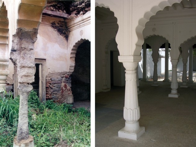 Column detail before and after the restoration