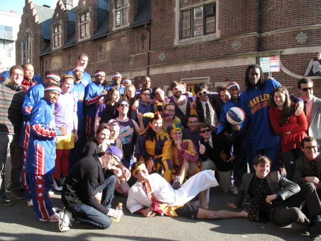 Both teams posing together outside of Lampoon Castle.