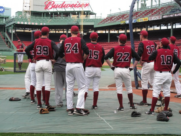 Harvard players near the batting cage.
