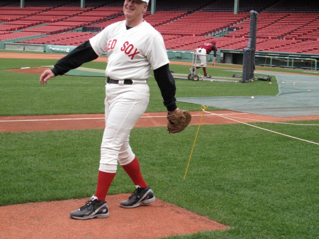 Former Red Sox pitcher MIke Stenhouse '80 donned a throwback uniform.