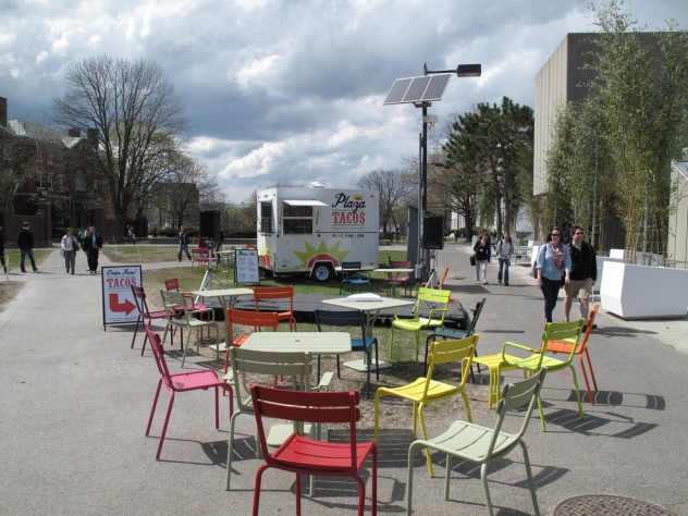 10. Harbingers of things to come: the seasonal casual seating, a food truck, and the temporary planters in front of the Science Center, as of last April