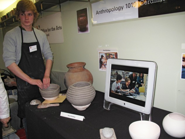 "Sammy Young '15 displays the pottery production and design techniques he learned in Anthropology 1010: ""Fundamentals of Archaeological Methods and Reasoning."""