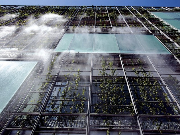 The building's external misting system at work