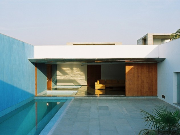 The owner uses this non-chlorinated pool in a central courtyard for lap swimming.
