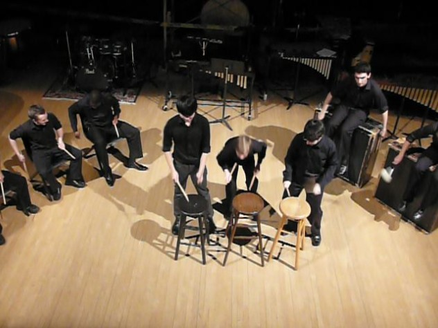 "THUD members perform ""Conchairto for Stools"" at the fall 2011 concert."