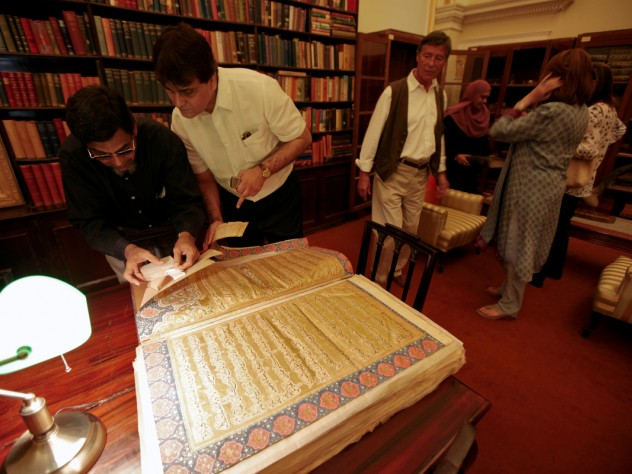 The Chowmahalla's library includes a collection of rare, antique Korans given as gifts to the royal family. (Princess Esra is at right, in blue.)