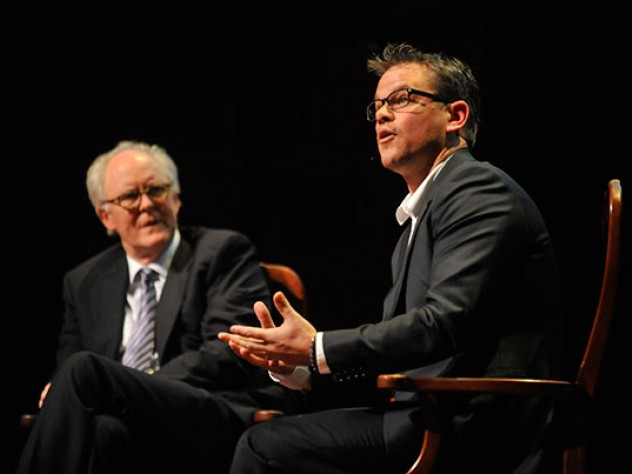In a sometimes funny, sometimes poignant on-stage conversation with actor and master of ceremonies John Lithgow '67, Ar.D. '05, Matt Damon talked about his career in Hollywood and reminisced about his Cambridge roots, including his days at Cambridge Rindge and Latin High School and his undergraduate years at Harvard.