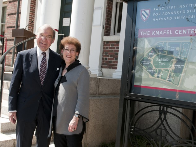 Sidney R. Knafel '52, M.B.A. '54, and Dean Lizabeth Cohen at the Knafel Center at the Radcliffe Institute