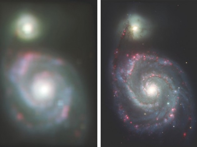 Simulations of HST view of M51 galaxy and GMT's higher resolution