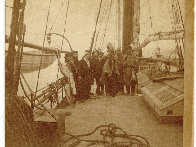 On the <i>Hassler</i> expedition, 1871-1872. Far left, Louis Agassiz; third from left, Elizabeth Agassiz