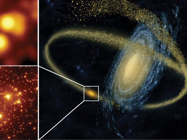 Artist's rendering of a small galaxy being disrupted by a larger one and (at left) a simulation showing the gains in resolution obtained by using the GMT's adaptive optics (to correct for blurring from Earth's atmosphere) in studying crowded star clusters.