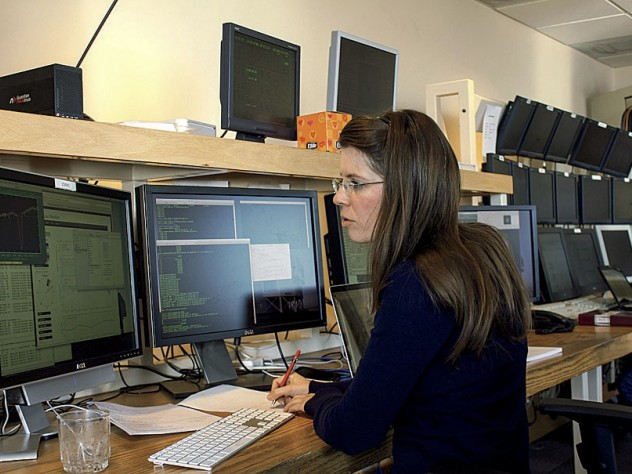 Astrophysicist Anna Frebel, observing at the twin 6.5-meter Magellan telescopes in Chile.