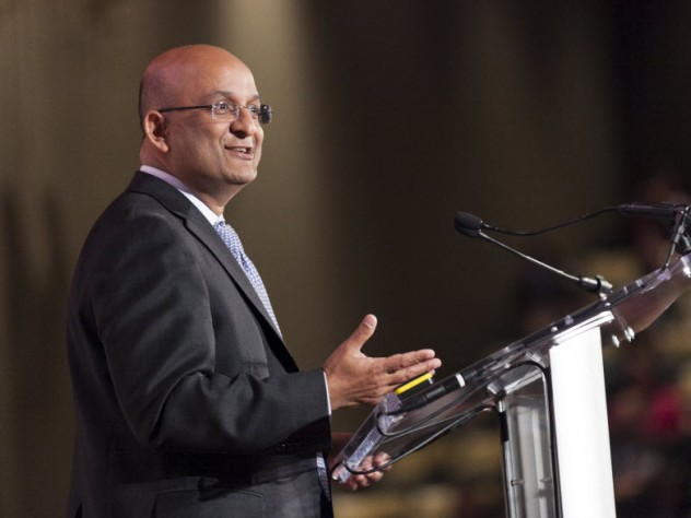 HBS dean Nitin Nohria told the audience he considers himself a feminist and supports a culture that reflects equality for women in the workplace.