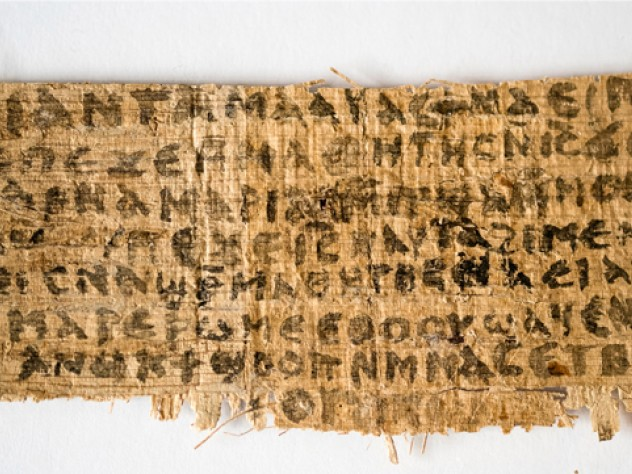 The front of a papyrus fragment from an early Christian codex on which is written the Gospel of Jesus's Wife, which came to light in 2012.