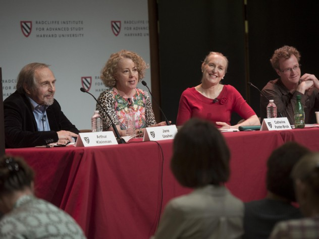 """The panel """"Defining Health: How Do Health and Disease Get Defined in Societies?"""" featured (left to right) Arthur Kleinman, Jane Ussher, Catherine Panter-Brick of Yale, and Nate Greenslit."""