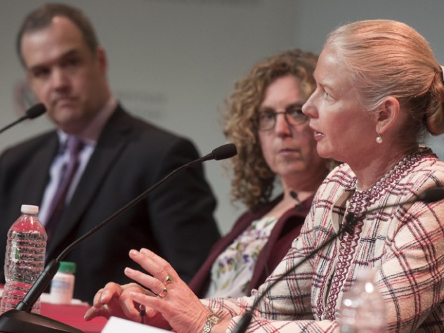 """C. Noel Bairey Merz discusses cardiovascular disease at the panel """"Research Priorities: The Impact of Gender on the Scope, Funding, and Analysis of Health Research."""" At left are Harvard political scientist Daniel Carpenter and Peggy Orenstein."""