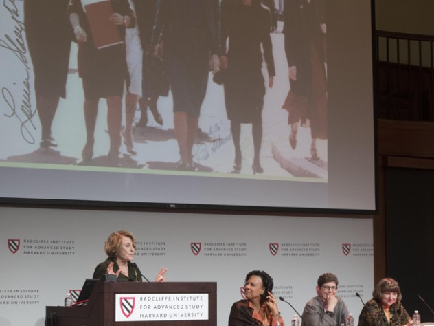 """Louise Slaughter makes a point during the panel """"Policy and Access to Care: Gender Gaps and Opportunities in the United States."""" At right are Paula A. Johnson of Harvard Medical School, Ruth J. Katz, and Julie Rovner."""