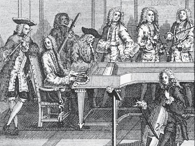 Anonymous print of a chamber music ensemble at the time of Johann Sebastian Bach