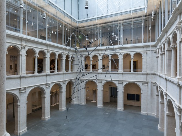 <i>Triangle Constellation</i>, by the Mexican-born artist Carlos Amorales, was installed in the Calderwood Courtyard of the Harvard Art Museums on April 15. Suspended by steel trusses that are part of the rafters under the glass roof, the sculpture's lowest point hangs just 10 feet above the floor.