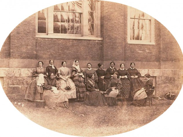 "A group portrait of the College housekeepers, then known as ""goodies"""