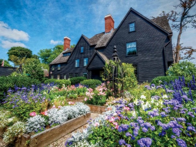 Gardens soften the stark look of the Colonial-era House of the Seven Gables