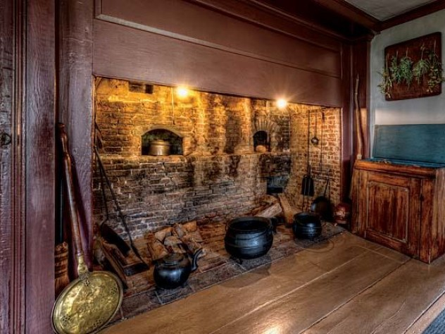 The kitchen at Hawthorne's birth home, restored to reflects its original design, has an open hearth.