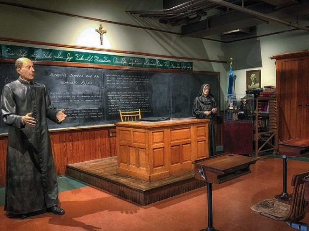 A replica of a parochial classroom for Woonsocket children