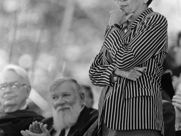 Marian Wright Edelman (Cambridge, MA - June 13, 1991) - Marion Wright Edelman, president and founder of the Children's Defense Fund, stands to receive her honorary degree at Harvard University Commencement.