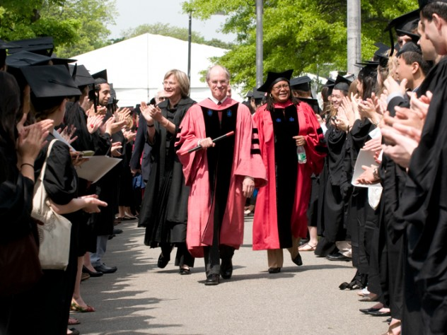 President Drew Faust; James Wilkinson, senior associate and former director of the Bok Center for Teaching and Learning, and chief marshal of the Alpha Iota Chapter of Phi Beta Kappa; and Harvard College Dean Evelynn M. Hammonds lead the Phi Beta Kappa procession.