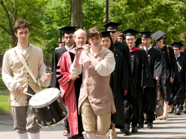 According to longstanding tradition, the Phi Beta Kappa initiates are escorted by fife and drum.