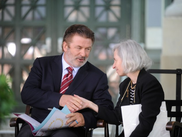 Alec Baldwin with Harvard Law School dean Martha Minow