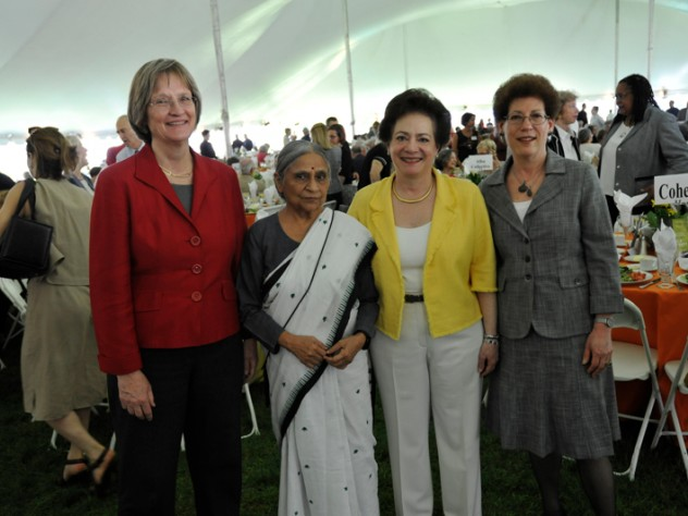 Drew Faust, Ela Bhatt, Barbara Grosz, and the incoming interim dean of the Radcliffe Institute, Lizabeth Cohen