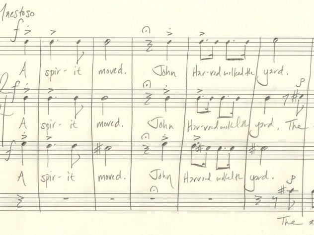 "Beaudoin's manuscript sketch of the introductory measures of ""Villanelle for an Anniversary"""