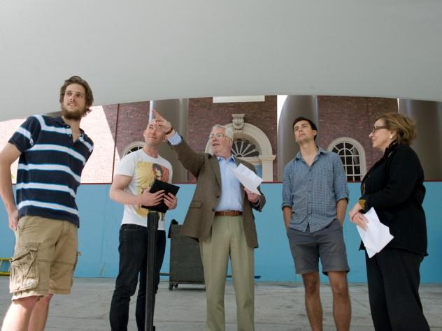 Left to right: Latin Salutatory orator Michael Velchik; Graduate English orator Jonathan Service; R.J. Tarrant, Pope professor of Latin; Senior English orator Anthony Hernandez; and University Marshal Jackie O'Neill