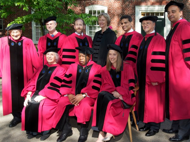 The 2012 honorary-degree recipients. Back row from left: Walter Kohn, John Adams, Provost Alan Garber, President Drew Faust, Fareed Zakaria, Mario Molina, and K. Anthony Appiah. Front row from left: Gillian Beer, John Lewis, and Wendy Kopp