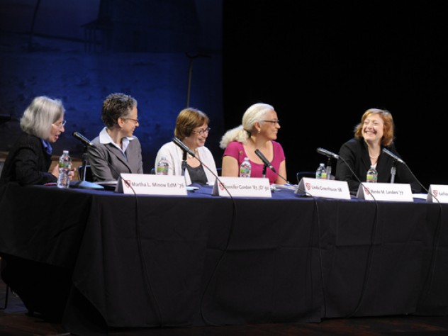From left to right: Martha Minow, Jennifer Gordon, Linda Greenhouse, Renée Landers, and Kathleen M. Sullivan